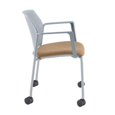 Silos 4 Leg Stacking Chair With Fabric Seat - Fixed Arms