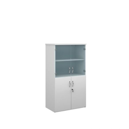 Universal Combination Unit With Glass Upper Doors 1440mm High With 3 Shelves
