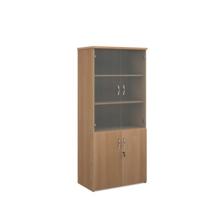 Universal Combination Unit With Glass Upper Doors 1790mm High With 4 Shelves