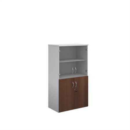 Duo Combination Unit With Glass Upper Doors 1440mm High With 3 Shelves