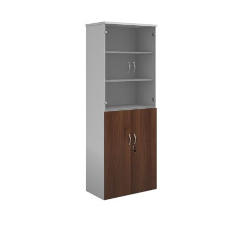 Duo Combination Unit With Glass Upper Doors 2140mm High With 5 Shelves