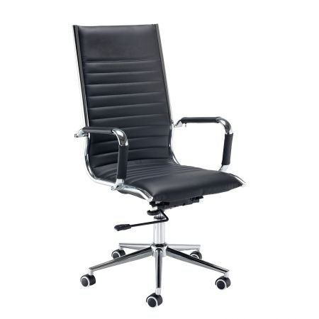 Barista High Back Executive Chair - Black Faux Leather