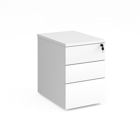 Deluxe 3 Drawer Mobile Pedestal 600mm Deep - White