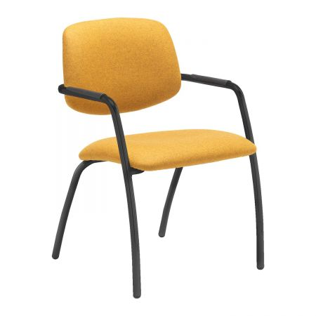 Tuba Black 4 Leg Frame Conference Chair With Half Upholstered Back - Made To Order