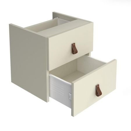 Storage Unit Insert - Drawers With Leather Pull Handles
