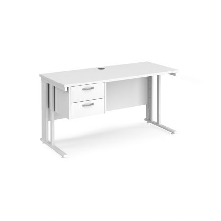 Mistron 25 Straight Office Desk 1400mm X 600mm With 2 Drawer Pedestal - Cable Managed Leg Frame