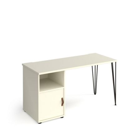 Trefal Straight Office Desk 1400mm X 600mm With Hairpin Leg And Support Pedestal With Cupboard Door - Black Legs