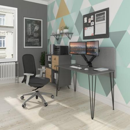 Trefal Straight Office Desk 1400mm X 600mm With Hairpin Leg And Support Pedestal - Black Legs