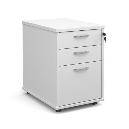 Tall Mobile 3 Drawer Pedestal With Silver Handles 600mm Deep