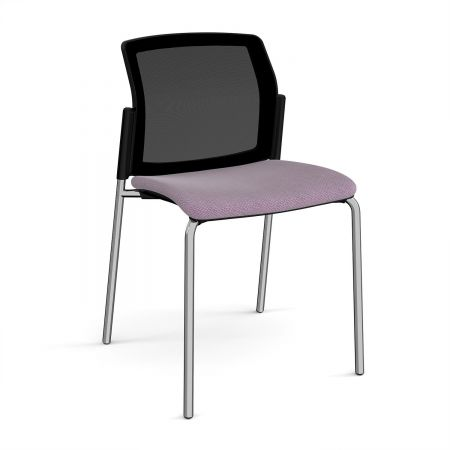Silos 4 Leg Stacking Chair With Fabric Seat And Mesh Back With No Arms