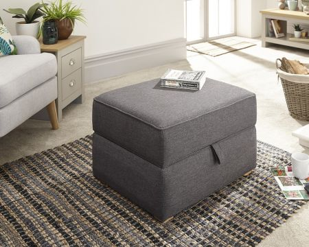 Lily Square Storage Footstool Hopsack