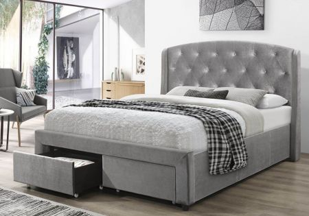 Helen Silver Velvet Drawer Bed Frame