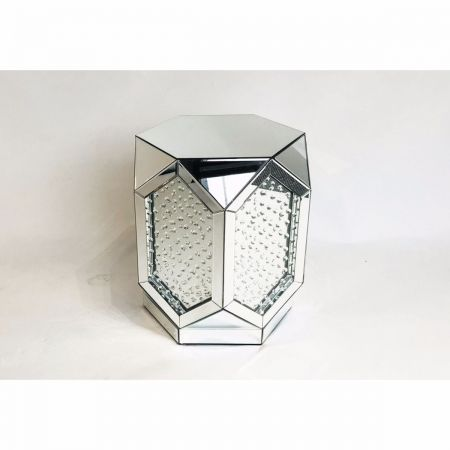 Mirrored Crystal Faceted End Lamp-Side Tables
