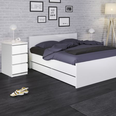 Siannak Bedside - 3 Drawers In White High Gloss
