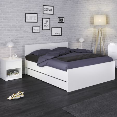 Siannak Bedside - 1 Drawer 1 Shelf In White High Gloss