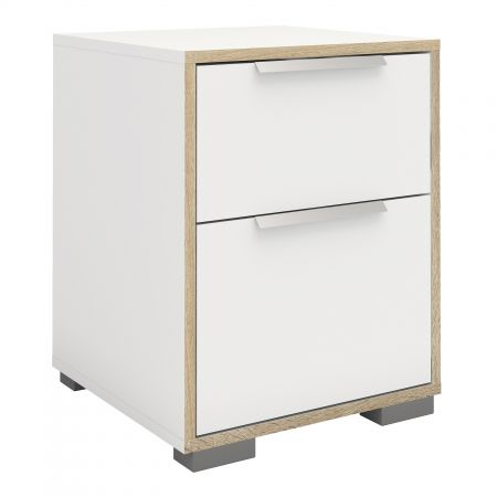 Line Bedside 2 Drawers In White And Oak