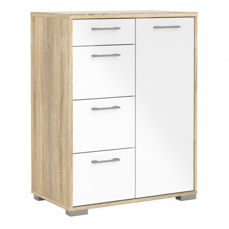 Evesham Sideboard - 4 Drawers 1 Door In Oak With White High Gloss