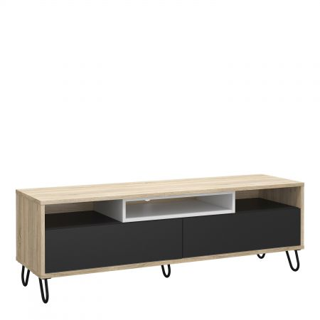 Match TV Unit 2 Drawers W/ Media Compartment In Oak With Dark Grey And White