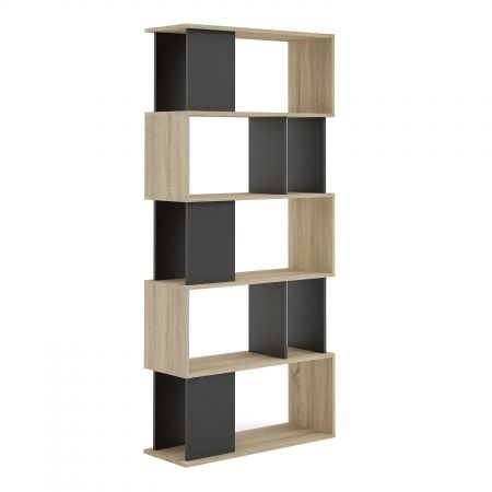Haze Open Bookcase 4 Shelves In Oak And Black