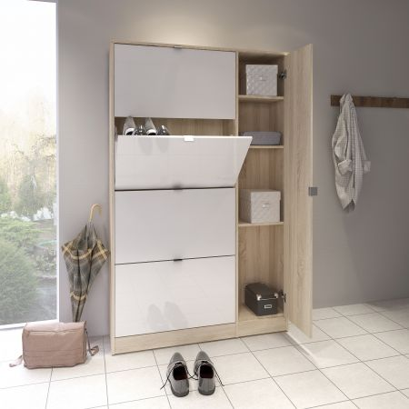 Strine Shoe Cabinet 4 Compartments + 1 Door W/ Mirror In Oak With White High Gloss