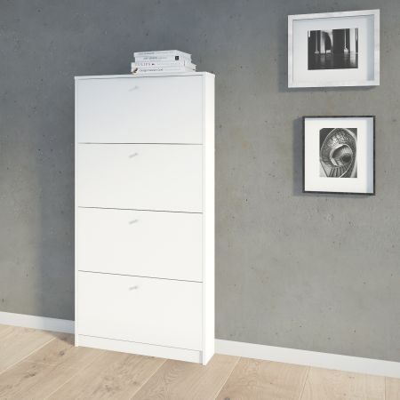 Strine Shoe Cabinet 4 Compartments In White