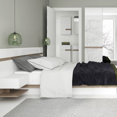 Frosbrooke Kingsize Bed In White Gloss With An Oak Trim With Lift Up Function