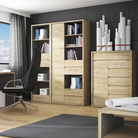 Shores Tall Narrow 3 Drawer Bookcase