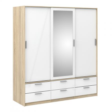 Line Wardrobe - 3 Doors 6 Drawers In Oak With White High Gloss