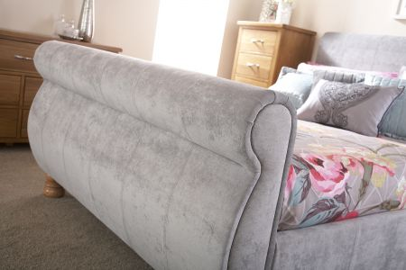 Chaxton Fabric Bed - Silver Chenille