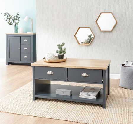 Lanquest 2 Drawer Coffee Table Slate Blue