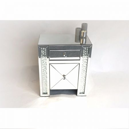 Mirrored Floating Crystal Bedside Cabinet