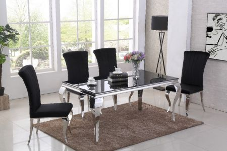 Liarra Black Dining Table & 4 Chairs Sets