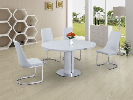 Osborne White Extending Dining Table & Curvster 4 Chairs Set