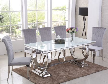 Paris Black Dining Table & Liarra 6 Chairs Set