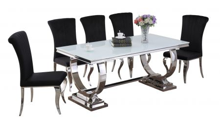 Paris White Dining Table & Liarra 6 chairs Set