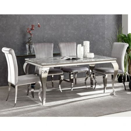 Liarra Marble Dining Table & Liarra Grey 4 Chairs