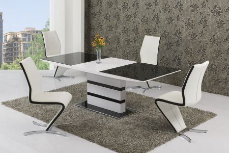 Antarctic Black & White Dining Table & 4 Chairs