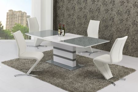 Antarctic Grey & White Dining Table & 4 Chairs