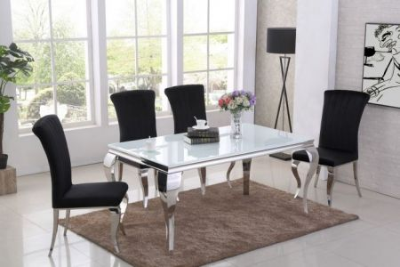 Liarra White Dining Table & Liarra 4 Chairs Set