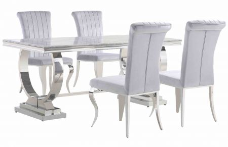 Paris Marble Dining Table & Liarra Grey Chairs Set