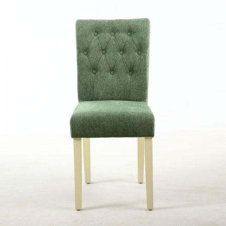 Hannah Diamond Button 2 Dining Chairs in Chenille Olive Green