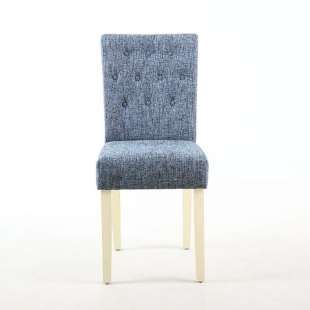 Hannah Diamond Button 2 Dining Chairs in Fleck Effect Oxford Blue