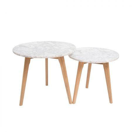 Newry Round Nest Of Tables Oak-White Marble Top