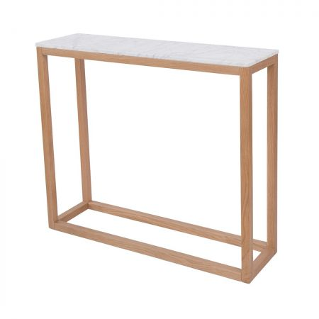 Newry Console Table Oak-White Marble Top