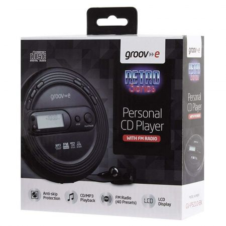 Groov-e GVPS210BK Personal CD Player with FM Radio