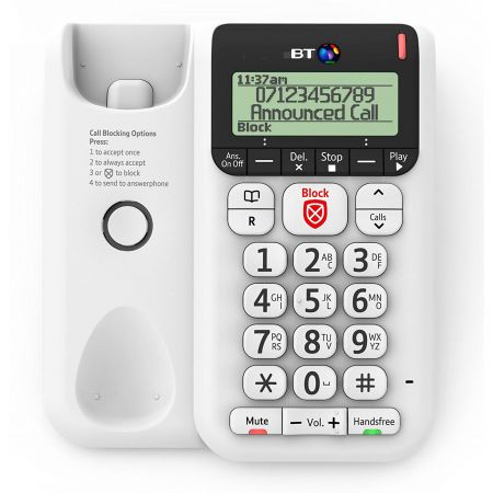 BT 2600 Decor Corded Telephone - Answer Machine - White
