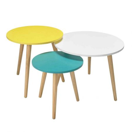 Hollia Set of 3 Tables Oak with Pastel Tops