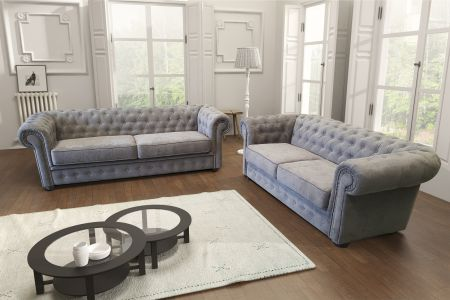 Chesterfield 3+2 Sofa Sets - Brown Leather