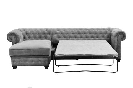 Chesterfield Corner Left Hand Side Sofa Bed - Grey