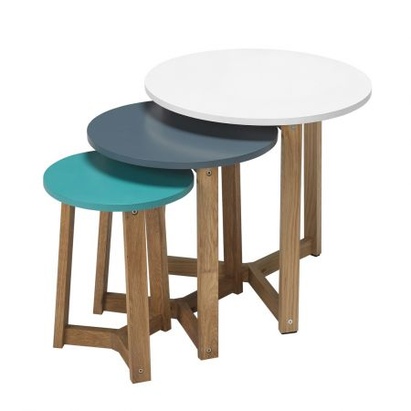 Jasper Nest Of Tables Solid Oak-Funky Coloured Tops